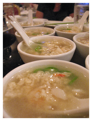 specialty, sizzling rice soup makes crackling sounds when crisp rice ...